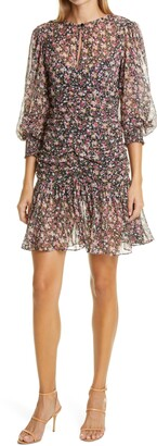 By Ti Mo Floral Ruched Long Sleeve Chiffon Dress