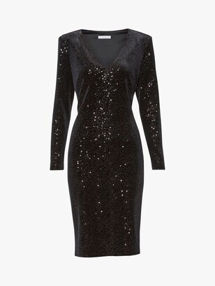 Gina Bacconi Celeste Velvet Sequin Dress, Black