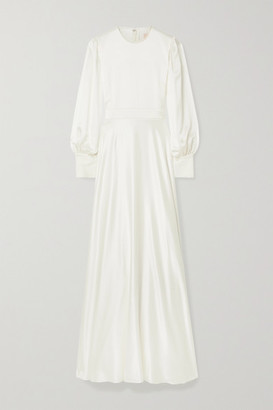 Roksanda Adyn Tulle-trimmed Silk-crepe Gown - Ivory
