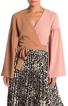 Do & Be Do + Be Colorblock Bell Sleeve Wrap Top