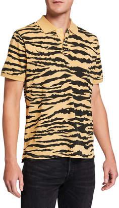 Ovadia & Sons Men's Tiger-Pattern Pique Polo Shirt