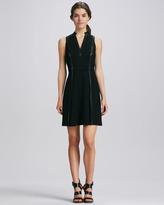 Rebecca Taylor Leather-Strip Dress