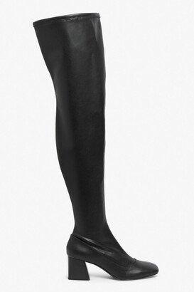 Monki Thigh-high faux leather boots