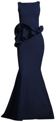 Chiara Boni Evan Ruffled Mermaid Gown