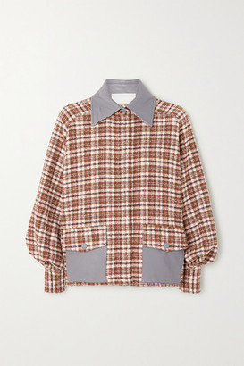 REMAIN Birger Christensen Beiru Leather-trimmed Checked Cotton-blend Tweed Bomber Jacket