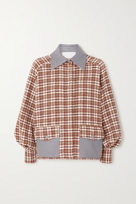 REMAIN Birger Christensen Beiru Leather-trimmed Checked Cotton-blend Tweed Bomber Jacket - Brick