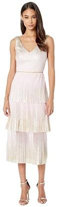 Marchesa Notte V-Neck Pleated Foil Degrade Tiered Cocktail Dress (Blush) Women's Dress
