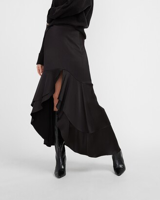 Express High Waisted Satin Hi-Lo Flounce Maxi Skirt