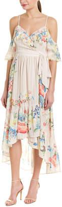 Champagne & Strawberry Cold-Shoulder Wrap Dress