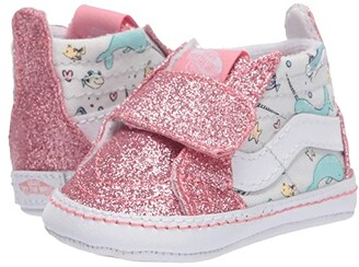 Vans Kids SK8-Hi Crib (Infant/Toddler) ((Shark Party) Pink Icing/True White) Girls Shoes