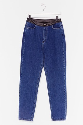 Nasty Gal Womens PU Detail Straight Leg Jean - Blue - 4