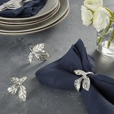 Crate & Barrel Silver Leaves Napkin Ring