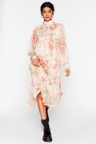 Nasty Gal Womens Say High Neck Floral Midi Dress - white - L