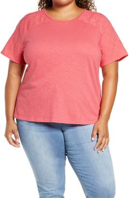Caslon Eyelet Detail T-Shirt