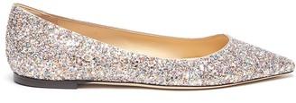 Jimmy Choo 'romy' Point Toe Coarse Glitter Skimmer Flats