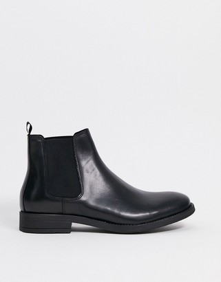 Jack and Jones leather chelsea boot in black