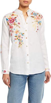 Johnny Was Amara Floral Embroidered Oversized Mandarin-Collar Shirt