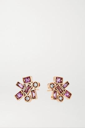 Suzanne Kalan 18-karat Rose Gold, Sapphire And Diamond Earrings - one size