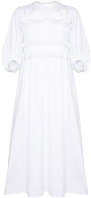 Cecilie Bahnsen puff-sleeve A-line midi dress