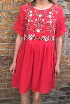 Entro Red Embroidered Dress