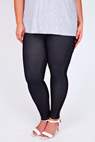 Yours Clothing Indigo Jersey Jeggings With Gold Stitch Detail