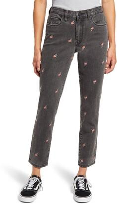 Blank NYC Rosebud Embroidered High Waist Crop Slim Jeans