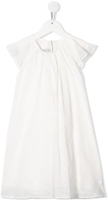 Christian Dior Ruffle-Sleeved Broderie Anglaise Dress