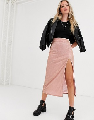 Asos DESIGN sparkle bias slip midi skirt with thigh split