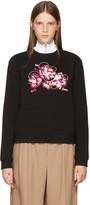 Carven Black Embroidered Floral Sweatshirt