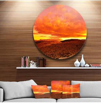 "Designart 'Dramatic Red Sunset At Desert' Extra Large Wall Art Landscape - 23"" x 23"""