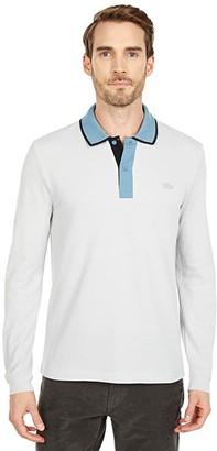 Lacoste Long Sleeve Regular Fit Semi Fancy Tailored Polo (Cumulus/Limestone/Black) Men's Clothing