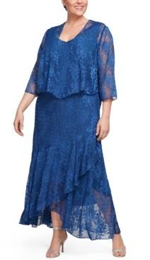 Alex Evenings Plus Size Glitter Printed Dress & Jacket