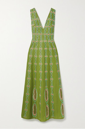 Le Sirenuse Positano Nellie Embroidered Cotton Maxi Dress - Green