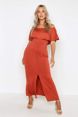 boohoo Plus Ruffle Off Shoulder Maxi Dress