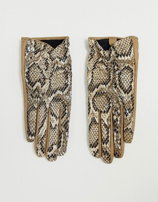 ASOS DESIGN leather snake gloves with touch screen