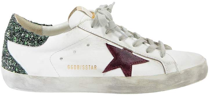 Golden Goose Superstar Green Glitter Back Low-Top Sneakers