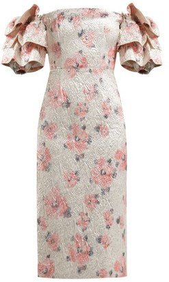 ALEXACHUNG Tiered Sleeve Floral Cloque Dress - Womens - Pink Multi