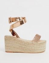 Simmi Shoes Simmi London Melia rose gold rhinestone embellished flatform espadrilles