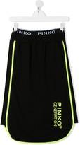Pinko Kids TEEN logo print piped trim skirt