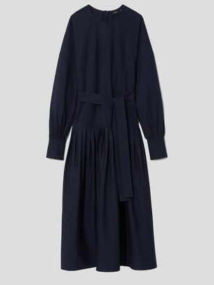 Proenza Schouler Long Sleeve Cotton Poplin Belted Midi Dress