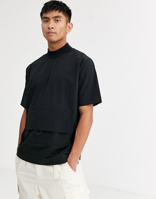 Asos oversized fit t-shirt in nylon with pocket detail-Black