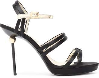 Roger Vivier Patent Leather-trimmed Satin Sandals