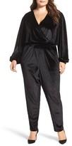 Melissa McCarthy Plus Size Women's Velvet Surplice Jumpsuit