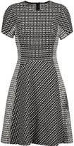 Lela Rose Paneled printed stretch cotton-blend twill dress