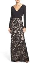 Xscape Evenings Women's Jersey & Burnout Mesh Gown