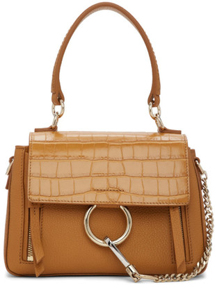 Chloé Brown Mini Croc Faye Day Bag