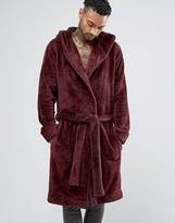 Asos Hooded Fleece Dressing Gown In Burgundy