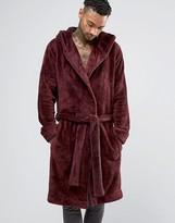 Asos Loungewear Hooded Fleece Robe In Burgundy