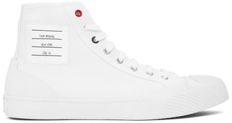 Thom Browne White Vulcanized 4-Bar High-Top Sneakers