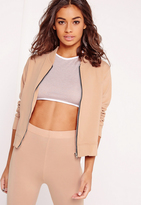 Missguided Petite Exclusive Jersey Bomber Jacket Camel